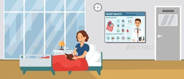 Cardiology Hospital Ward Flat Vector Illustration - People Characters