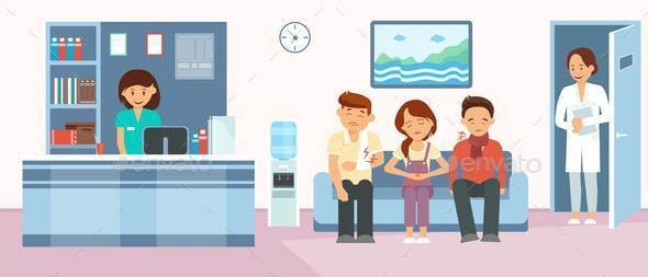Patients in Hospital Reception Flat Illustration - People Characters