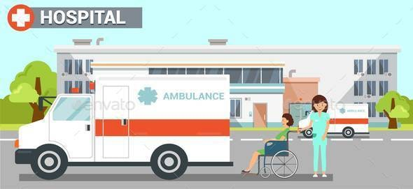 Hospital Ambulance Flat Vector Color Illustration - Health/Medicine Conceptual