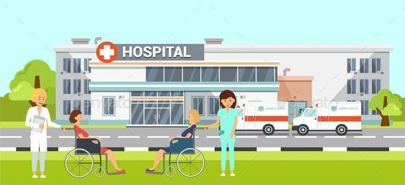 Medical Help in Hospital Flat Vector Illustration - People Characters