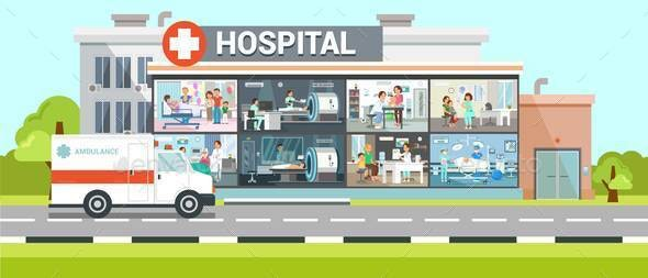 Hospital Inside View Flat Vector Illustration - Buildings Objects