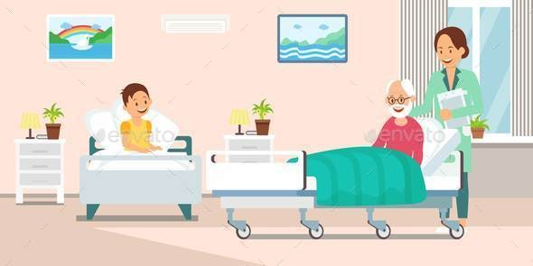Nurse in Hospital Ward Flat Vector Illustration - People Characters