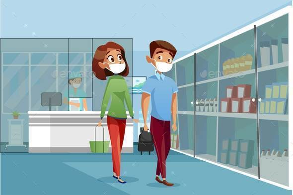 Epidemic Prevention Flat Vector Color Illustration - People Characters