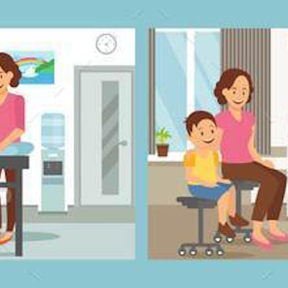 Pediatrics Care Clinic Flat Vector Illustration
