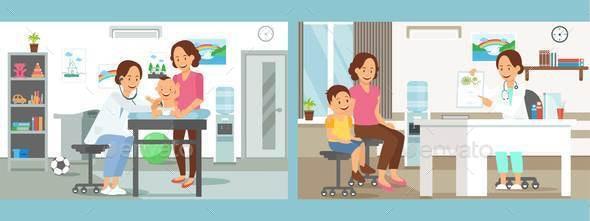 Pediatrics Care Clinic Flat Vector Illustration - People Characters