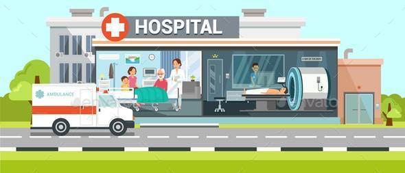 Hospital and Ambulance Flat Vector Illustration - Health/Medicine Conceptual