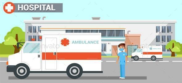 Hospital, Clinic Exterior Flat Vector Illustration - Health/Medicine Conceptual