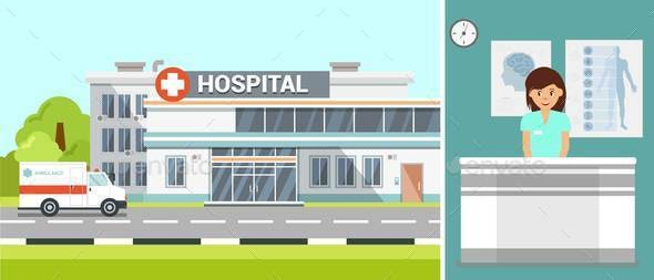 Hospital Exterior and Ambulance Flat Illustration - Buildings Objects