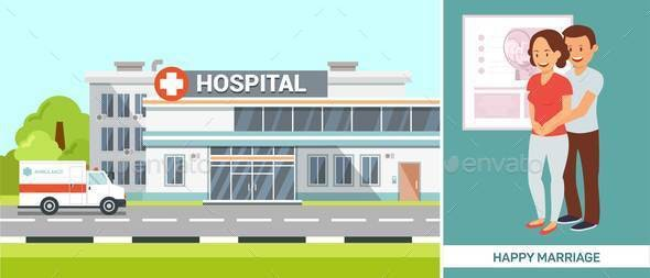 Clinic with Happy Marriage Couple Illustration - Buildings Objects