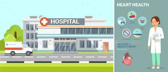 Hospital with Doctor Flat Vector Illustration - Buildings Objects