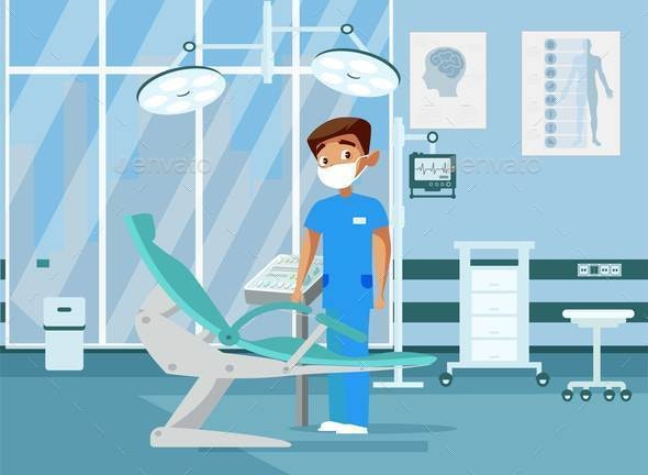 Doctor in Clinic Room Flat Vector Illustration - People Characters