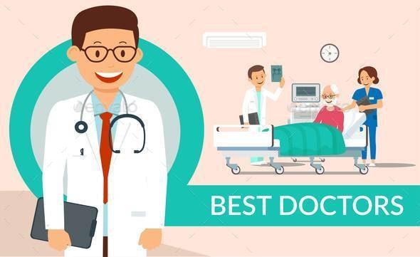 Best Doctors Help Flat Vector Poster Template - People Characters