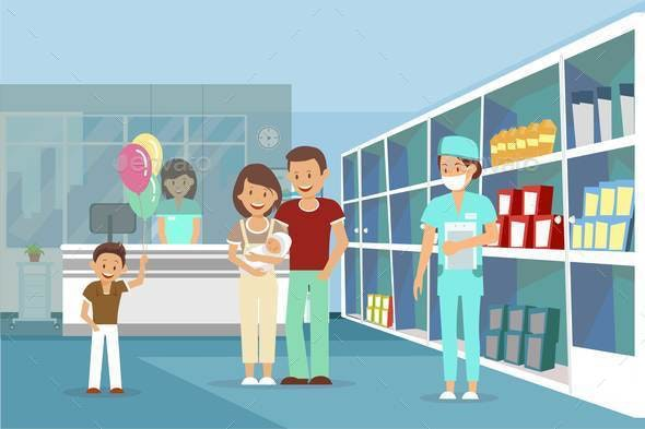 Family in Pharmacy Flat Vector Color Illustration - People Characters