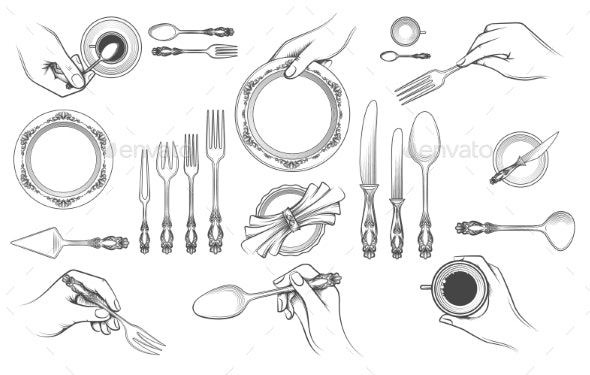 Hands with Cutlery - Food Objects