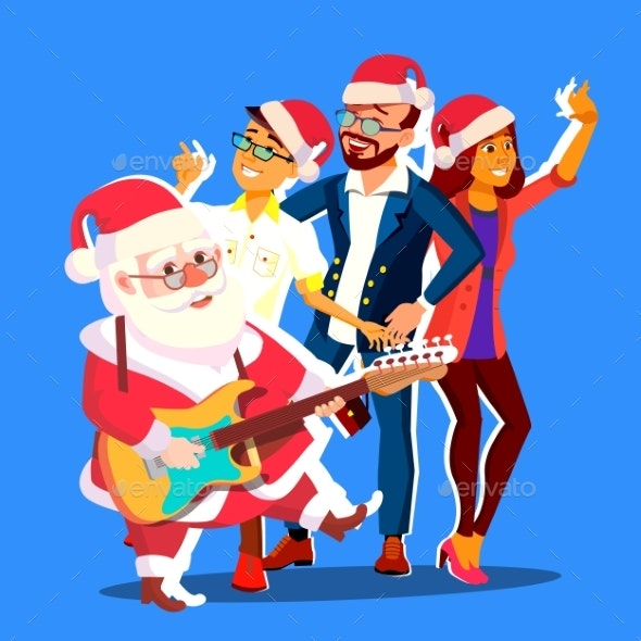 Santa Claus Dancing With Group Of People - Seasons/Holidays Conceptual