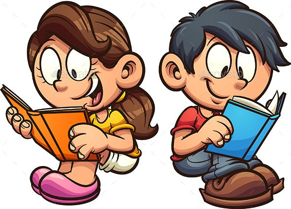 Kids Reading Books by memoangeles   GraphicRiver