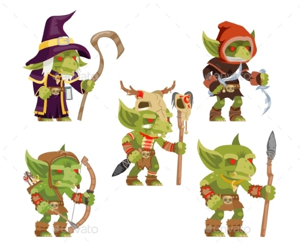 Evil Goblins Pack Dungeon Dark Wood Tribe Monster - Miscellaneous Vectors