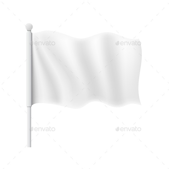 White Wavy Flag - Man-made Objects Objects