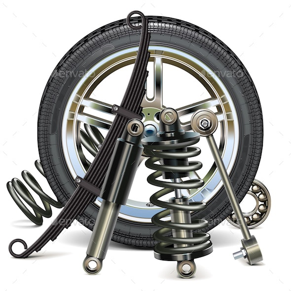Vector Car Wheel with Suspension Parts - Industries Business