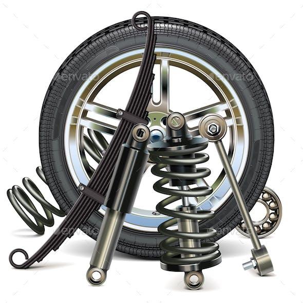 Vector Car Wheel with Suspension Parts