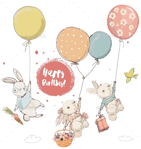 Hares with Balloons - Birthdays Seasons/Holidays