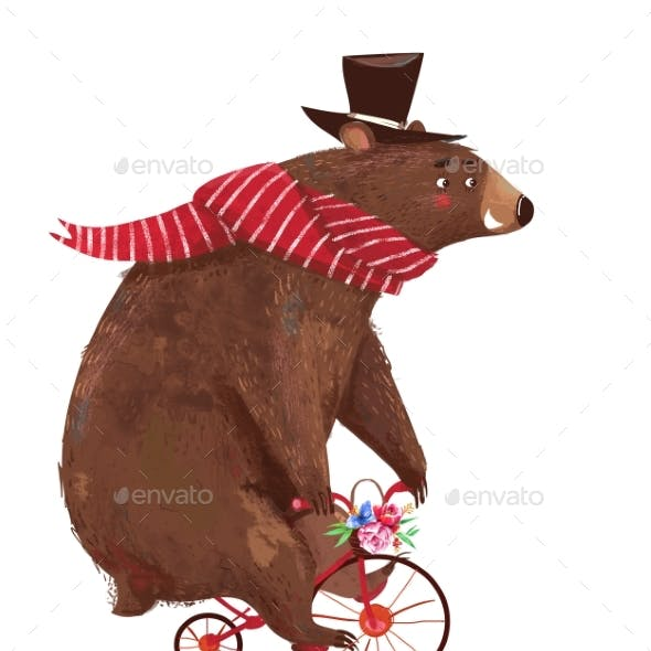 Cute Cartoon Bear with Scarf on Bicycle