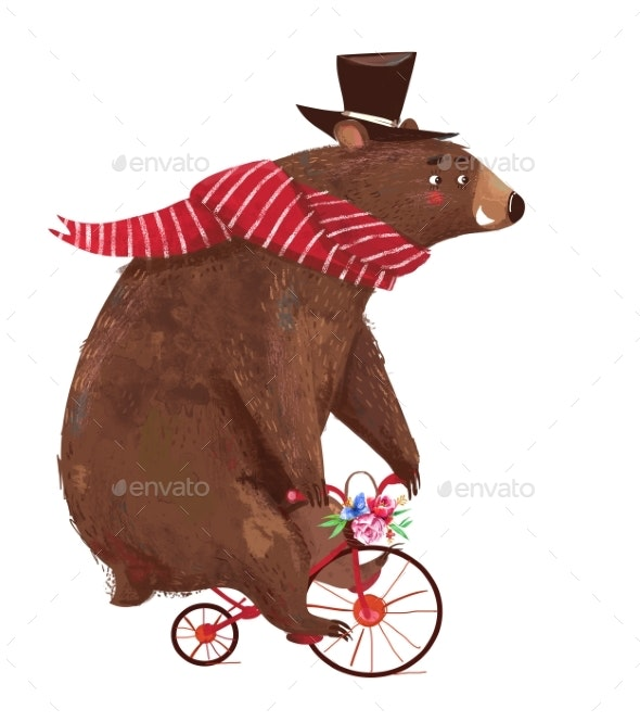 Cute Cartoon Bear with Scarf on Bicycle - Animals Illustrations