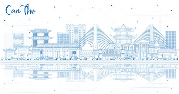 Outline Can Tho Vietnam City Skyline with Blue Buildings - Buildings Objects