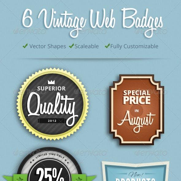 6 Colorful Vintage Web Badges