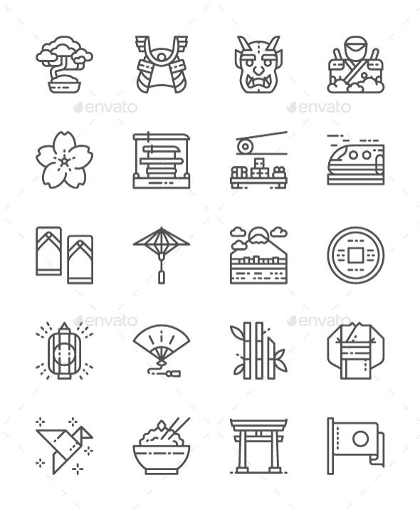 Set Of Japanese Culture Line Icons. Pack Of 64x64 Pixel Icons - Objects Icons