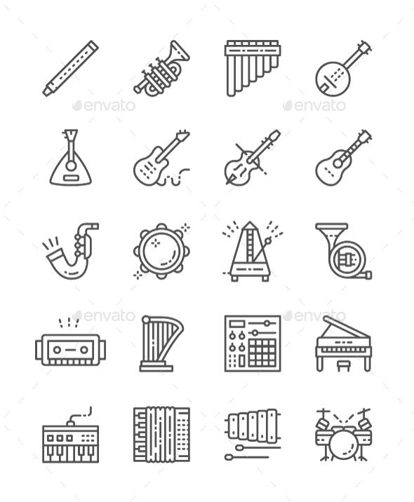 Set Of Musical Instruments Line Icons  Pack Of 64x64 Pixel Icons