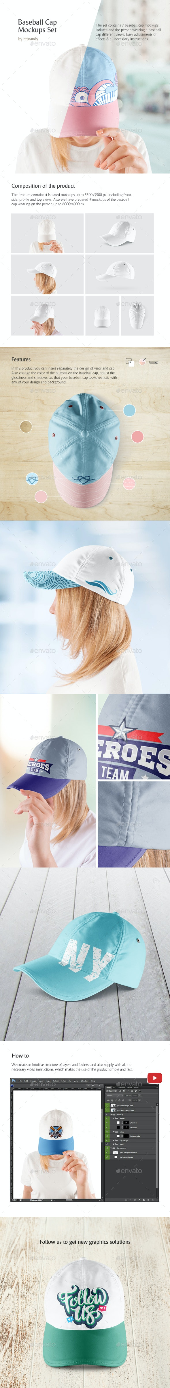 Baseball Cap Mockups Set - Product Mock-Ups Graphics