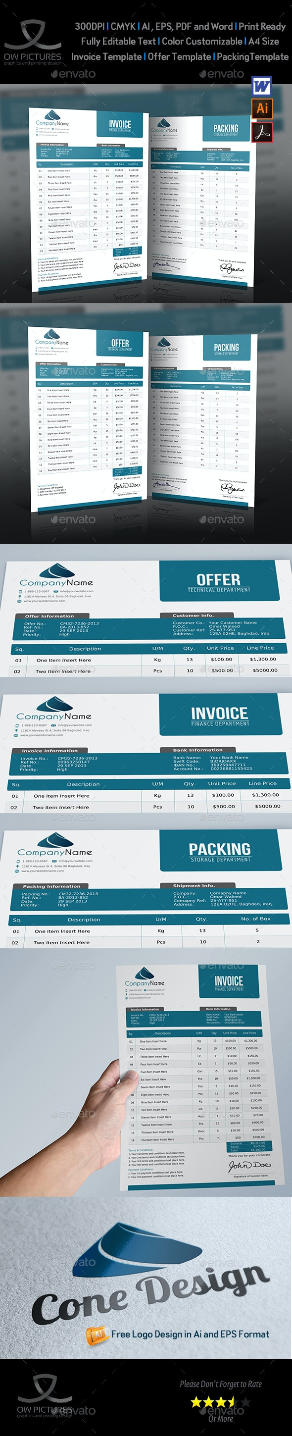 Offer and Packing and Invoice Template Vol.1 - Proposals & Invoices Stationery