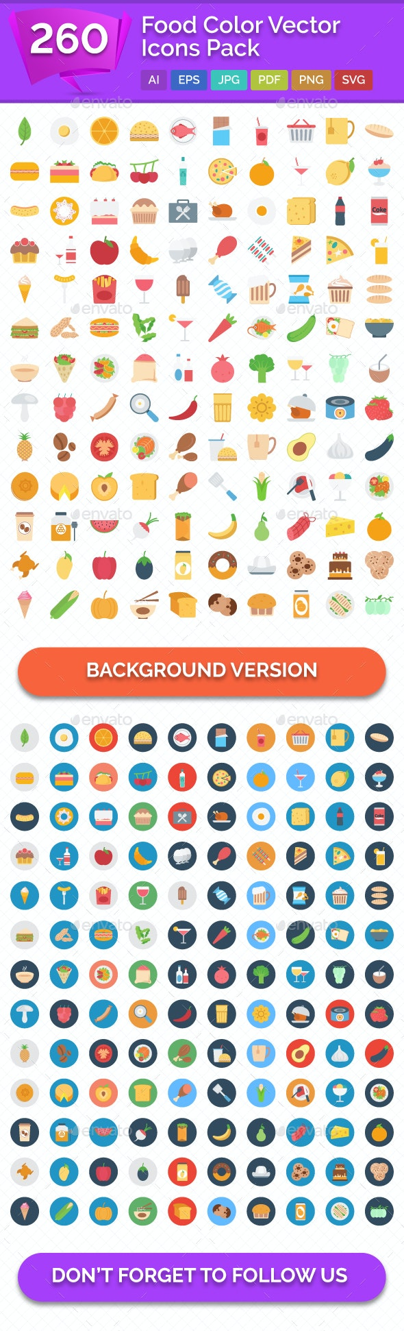 260 Food Color Vector Icons Pack - Icons