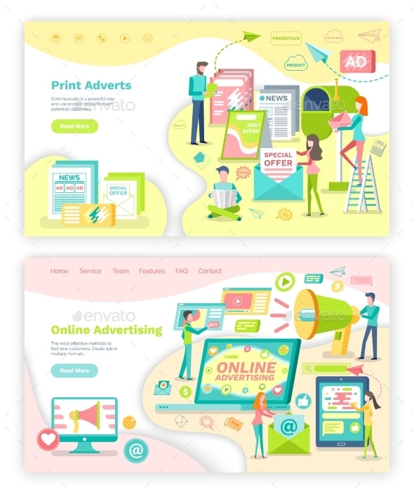 Print Adverts and Online Advertising Web Page - Business Conceptual