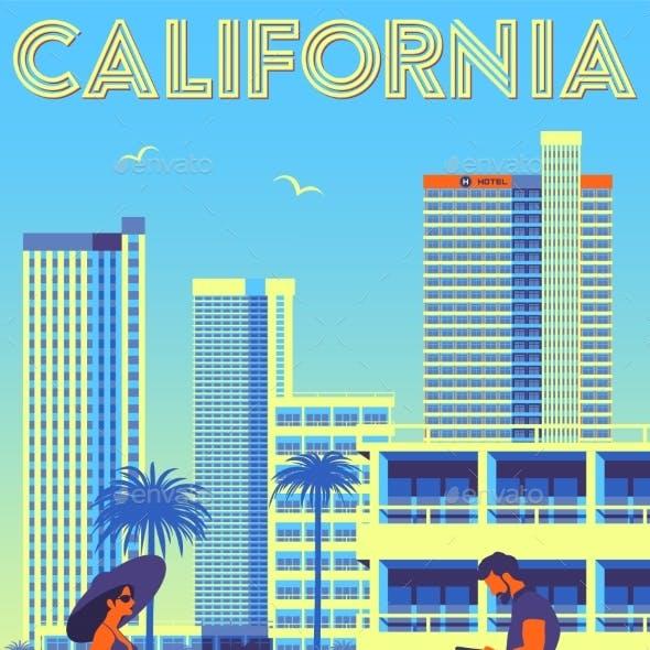 Street Scene in California USA Travel Poster
