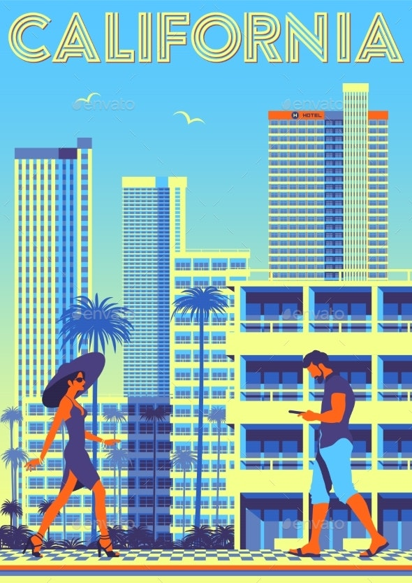 Street Scene in California USA Travel Poster - Buildings Objects