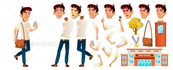 Asian Boy Schoolboy Kid Vector. High School Child - People Characters