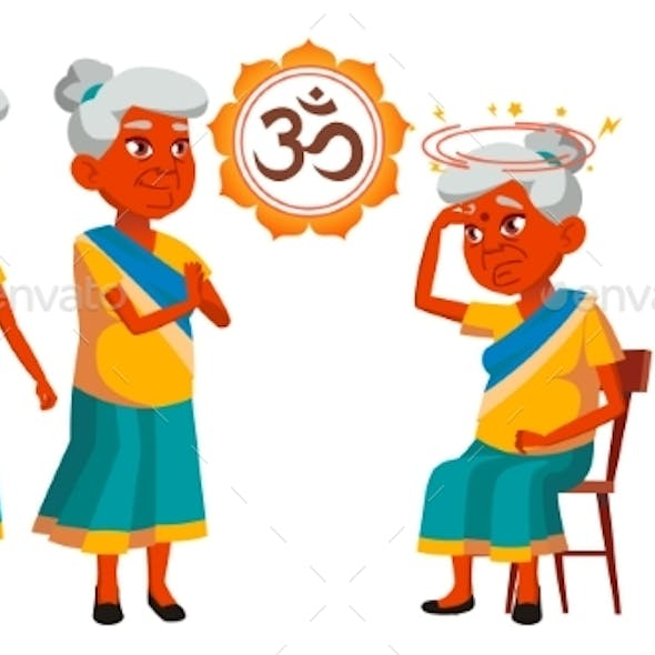 Indian Old Woman Poses Set Vector. Elderly People