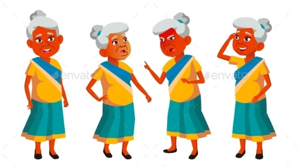 Indian Old Woman Poses Set Vector. Elderly People - People Characters