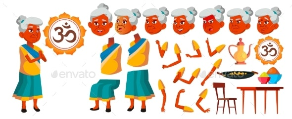 Indian Old Woman Vector. Senior Person Portrait - People Characters