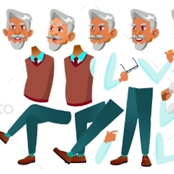 Arab, Muslim Old Man Vector. Senior Person