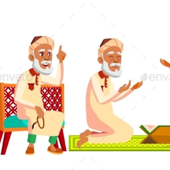 Arab, Muslim Old Man Poses Set Vector. Elderly