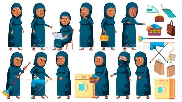 Arab, Muslim Old Woman Poses Set Vector. Elderly - People Characters