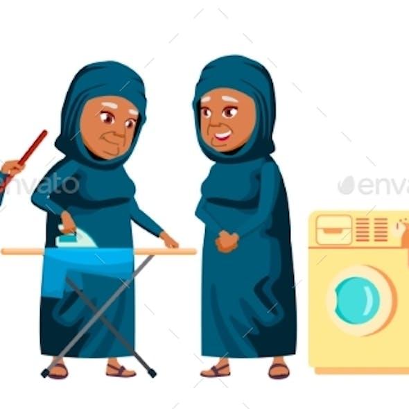 Arab, Muslim Old Woman Poses Set Vector. Elderly