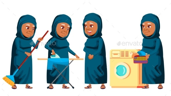 Arab, Muslim Old Woman Poses Set Vector. Elderly - People Characters
