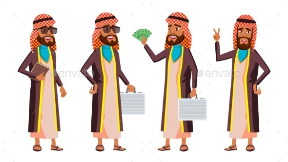 Arab, Muslim Old Man Poses Set Vector. Elderly - People Characters