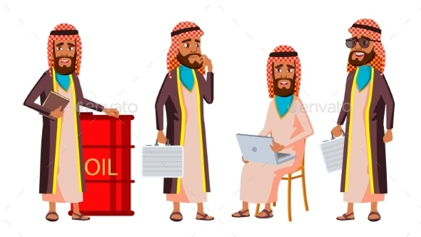 Arab, Muslim Old Man Poses Set Vector. Elderly - People Characters