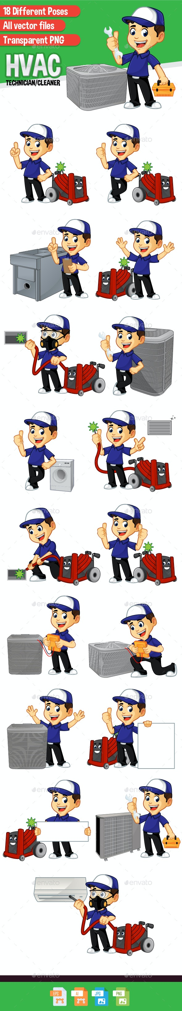 HVAC Cleaner or Technician - People Characters