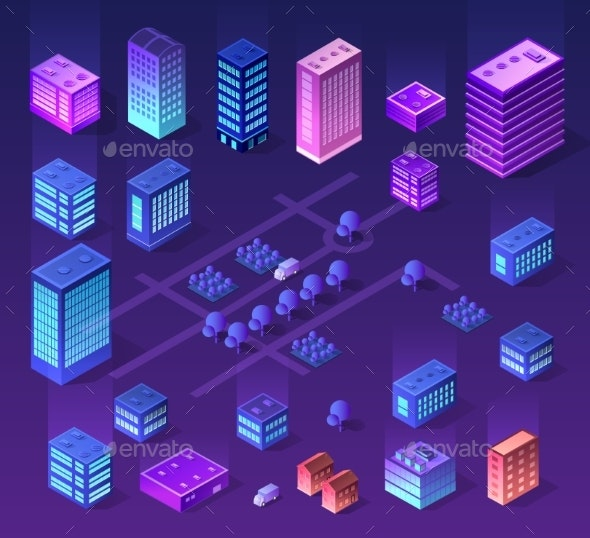 Future 3d Futuristic Isometric - Buildings Objects